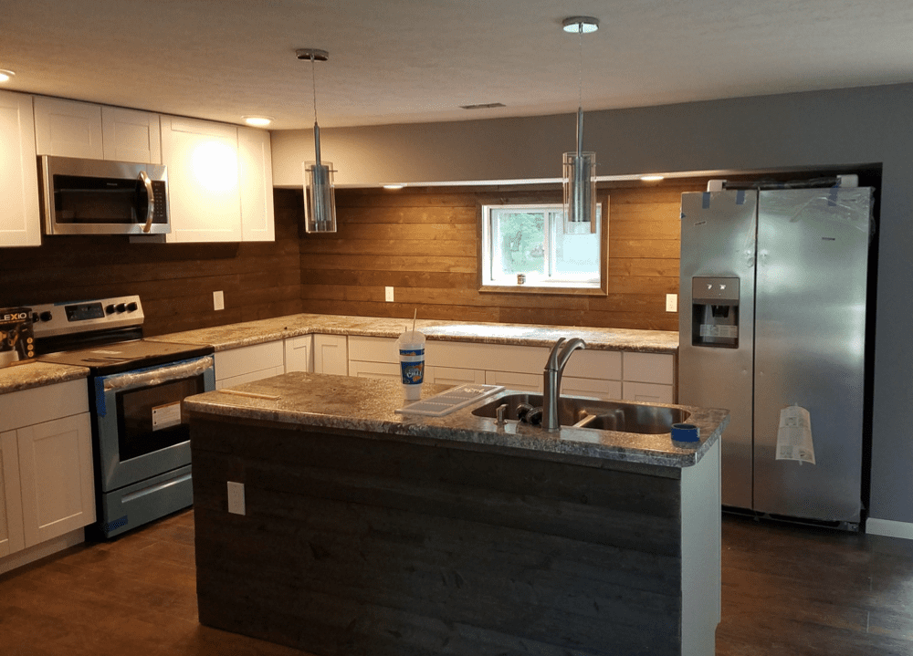 mixing materials within your kitchen can add interest and flair